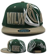 Milwaukee New Leader Deer Antlers Sideway Bucks Green Cream Era Snapback Hat Cap