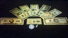 ~NEW~.999 GOLD$500-$1BILLION BANKNOTE REP.*SET+SILVER BAR&COIN/FLAKE~FREE SHIP