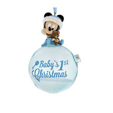 Disney Parks Blue Baby Mickey Mouse Baby's First Christmas Ornament with Snow
