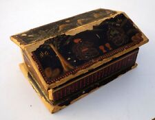 Vintage Hand Crafted Hut Shape Wooden Box Old Hand Painted Wooden Box