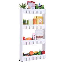 4-Tier Home Storage Cart Slim Slide Tower Rack Kitchen Shelf Laundry Carts White