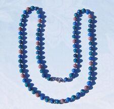 "Dalmatian Blue Teal & Purple Jasper Beaded Necklace 30"""