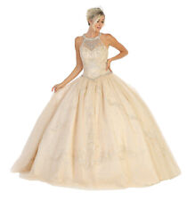 DESIGNER HALTER QUINCEANERA DRESSES SWEET 16 MASQUERADE PROM MILITARY BALL GOWNS