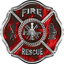"""Firefighter Fire Rescue Maltese Cross Decal in Inferno Red 6"""" REFLECTIVE FF33"""