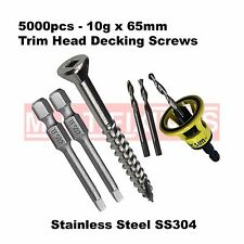 5000pcs - 10g x 65mm Trim Head Stainless SS304 Decking Screws + Clever Tool