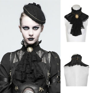 Punk Rave S-225 Black Steampunk Elegant Gothic Victorian Elizabethan Collar Neck