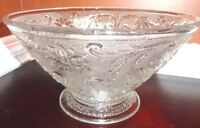 "VINTAGE PRESSED CLEAR GLASS CRYSTAL ROUND PEDESTAL SERVING BOWL 9"" T X 5 1/2""H"