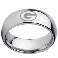 Green Bay Packers Team Silver Stainless Steel Band Rings Size 6-13