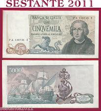 ITALIA ITALY  5.000 5000 Lire COLOMBO 1971 ERRORE  ERROR NOTE P 102a QFDS/AUNC 1