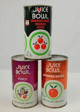 Set of 3 Vintage Juice Bowl Soda Cans Steel Cardbaord Orange Juice Punch drink
