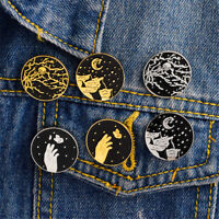 1x Dark Moon Star Mountain badges Gothic Design émail broches broches