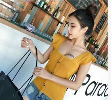 BUTTON KNITTED TOP (DZ)  -  YELLOW