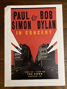 "BOB DYLAN PAUL SIMON 1999 Poster The Pond Anaheim CA Original 14"" x 19"""