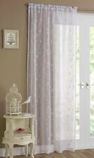 FLORENCE PLAIN VOILE NET CURTAIN PANEL WITH EMBROIDERY FLORAL PRINT MUSLIN LOOK