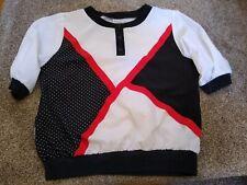 Vintage La Attitude Women's Top Size Large Pullover White Black Red Geometric