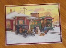 Lee Stroncek Art - Home For Christmas - Train Depot - Old Car - Lang Cards 3ct