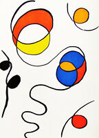 CALDER - HAPPY SQUIGGLES  - ORIGINAL  LITHOGRAPH - 1971 - FREE SHIP IN THE US!!