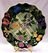 Tracy Porter Jardiniere Collection Black Floral/Fruit Charger/Platter