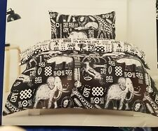 """KIDS DOUBLE BED """" SAFARI """" POLYESTER QUILT COVER SET.  REVERSIBLE B & W PRINT"""