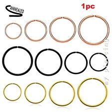 1PC 20g 18g 16G Anodized Steel Seamless Cratilage Labret Tragus Nose Hoop Ring