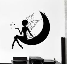 Wall Stickers Vinyl Decal Fairy On The Moon With Wings And Stars  (z1847)