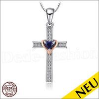 NEU 🌸 925 Sterling SILBER Anhänger KREUZ Halskette SAPHIR Gold HERZ 🌸 Cross