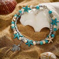 Boho Starfish Turquoise Beads Sea Elephant Turtle Anklet Beach Sandal Bracelet