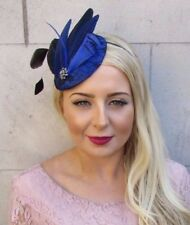 Royal Blue Black Feather Fascinator Pillbox Hat Races Wedding Hair Vintage 4026