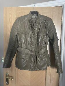 Ladies Belstaff Triumph 2013 Taupe / Brown Leather Jacket IT 46 UK 14