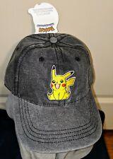 pokémon Ball Cap Hat Adjustable Strap gray & yellow