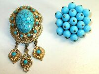 Charming pair of Vintage 1950's Florenza style Turquoise Glass Brooches