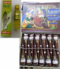 12 Kaveri natural henna cones temporary tattoo body art kit free mehandi oil