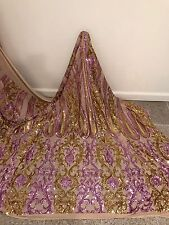 """GOLD STRETCH MESH W/GOLD LILAC SEQUIN EMBROIDERY LACE FABRIC 52"""" WIDE 1 YARD"""