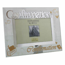 Glass 6 x 4 Photo Frame glass Glitter Letters - Confirmation