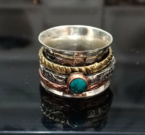 925 Sterling Silver Spinner Three Band Turquoise Gemstone Ring Valentine Gift