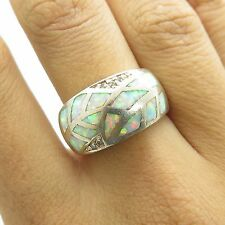 925 Sterling Silver Opal Gemstones C Z Wide Convex Women's Ring Size 6 1/4
