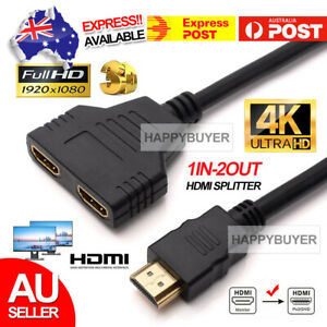 1 In 2 Out HDMI Splitter Amplifier Duplicator Full HD 1080p 3D V1.4 DVD