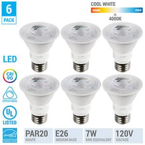 6 Pack LED 7W 50W 500 Lumen PAR20 Medium E26 Dimmable Flood 4000k Cool White