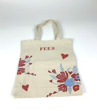 NWOT FEED THE CHILDREN Tote Bag Ivory w/Floral Design Multifunctional Use