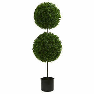 Boxwood Double Ball Artificial Topiary Tree UV Resistant Nearly Natural 3.5'