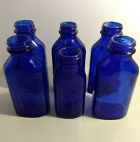 Lot of 6 Cobalt Blue Phillips Milk of Magnesia Bottles Medicine Apothecary Used