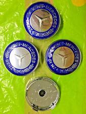 Mercedes Benz Wheel Centre Cap 60mm Blue/Chrome Set Of 4 Hub Caps Emblem Badge