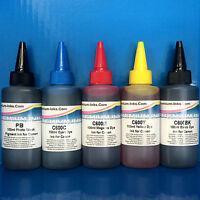 5x100ml PIGMENT/DYE Printer Refilling Ink For CANON Pixma iP8750 iX6800 iX6850