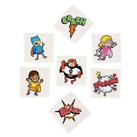 SUPERHERO PARTY Temporary Tattoo Fun Kids Tattoos Favours Pk of 36 Free Postage