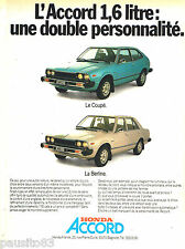 PUBLICITE ADVERTISING 085  1978  la  HONDA ACCORD coupé & Berline