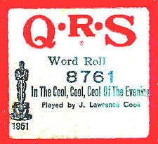 QRS Word Roll IN THE COOL, COOL, COOL OF THE EVENING Cook 8761 Player Piano Roll