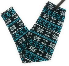 Printed Leggings PS 14-20 Snowflake Holiday Buttery Soft Blue White Black