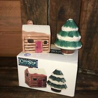 Tienshan folk craft cabin in the snow salt and pepper set shakers new in box NIB