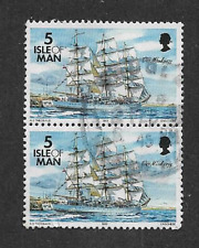ISLE OF MAN POSTAL ISSUE USED PAIR DEFINITIVE STAMPS SHIPS 1996