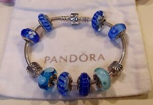 PANDORA💙Sterling Silver and Murano Glass Bracelet with 10 Charms ALE/925💙EUC